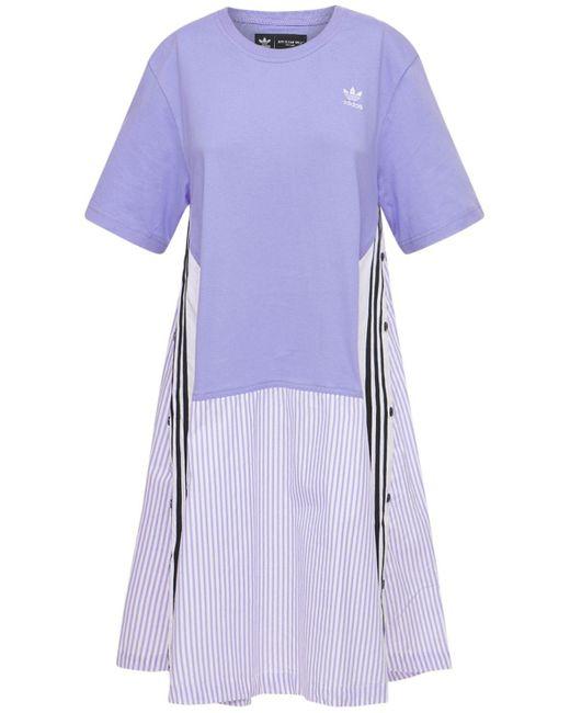 Adidas Originals コットンポプリン&ジャージーシャツドレス Purple