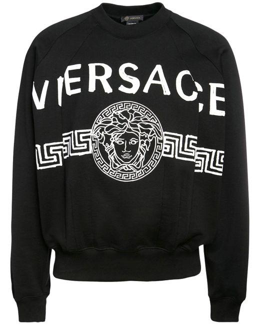 Хлопковый Свитшот С Принтом Логотипа Versace для него, цвет: Black