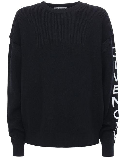 Pull-over Ample En Maille De Laine Mélangée À Logo Givenchy en coloris Black