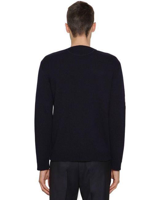 メンズ Valentino Vlogoカシミアインターシャセーター Blue