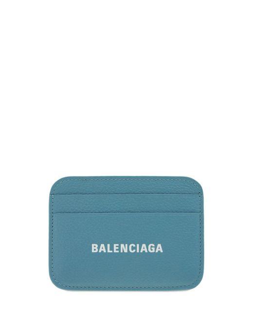 Кожаная Кредитница Balenciaga, цвет: Blue