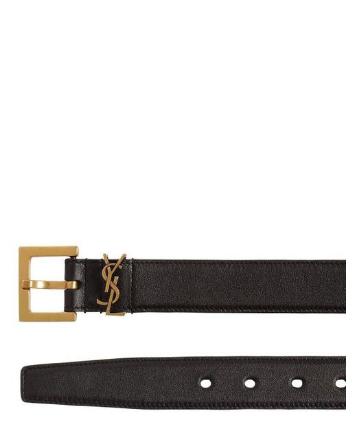 """Кожаный Пояс """"monogram"""" 30мм Saint Laurent, цвет: Black"""