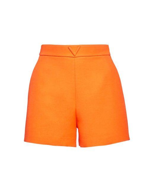 Valentino Couture Vロゴ ウール&シルクショートパンツ Orange