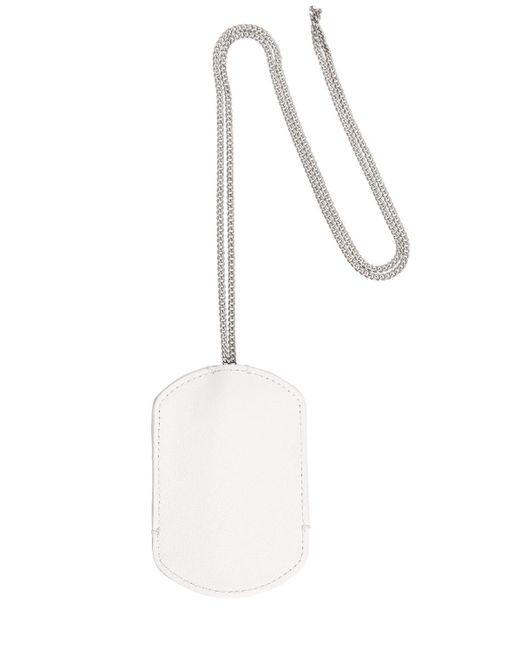 メンズ Maison Margiela レザー チェーン付きキーリング White