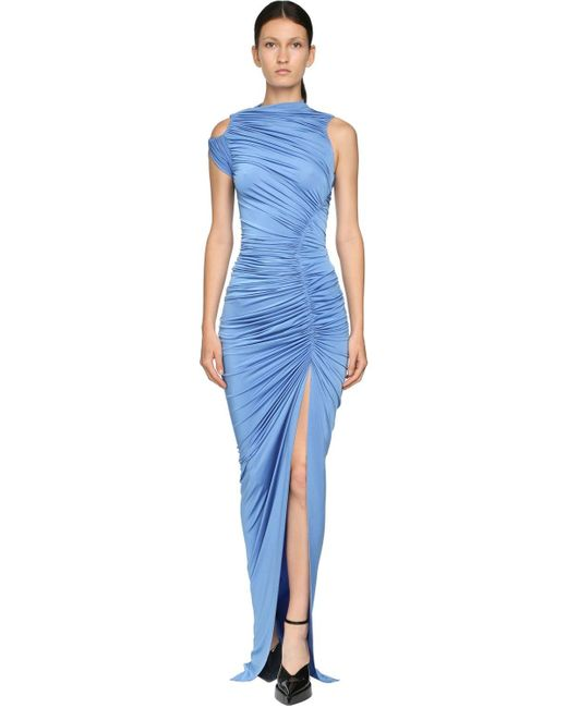Mugler ドレープストレッチロングドレス Blue