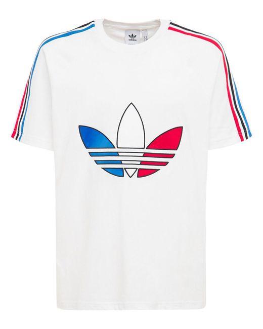 adidas Originals Tricolor Trefoil Cotton Jersey T-shirt in White ...