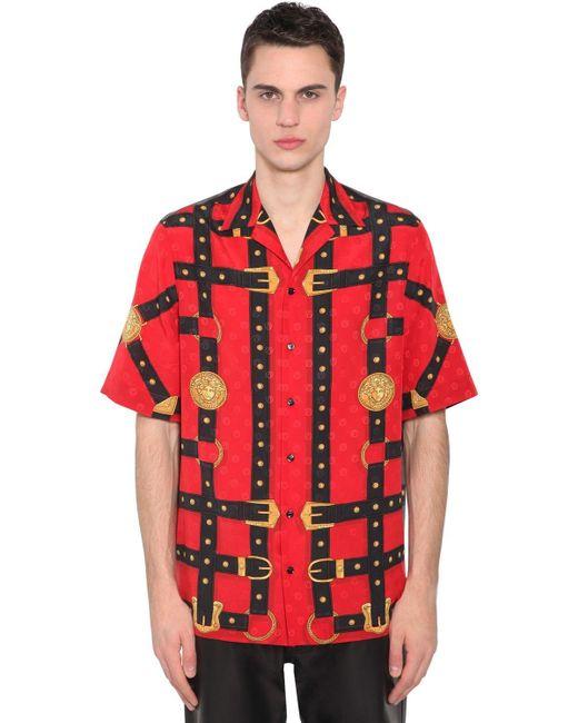 メンズ Versace シルク ボウリングシャツ Red