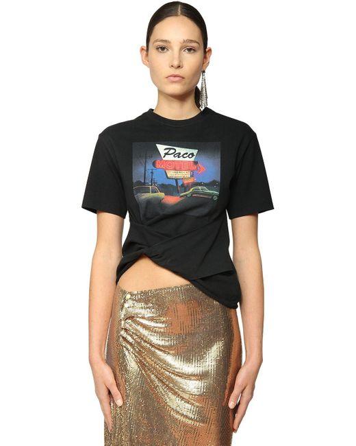 Paco Rabanne Black T-Shirt mit Motel-Print