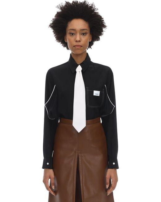 Burberry シルクサテンシャツ Black