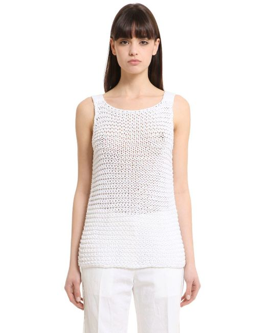 CALVIN KLEIN 205W39NYC - White Cotton Knit Tank Top - Lyst