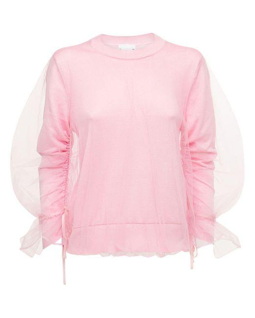 Noir Kei Ninomiya チュール&シルクジャージーセーター Pink