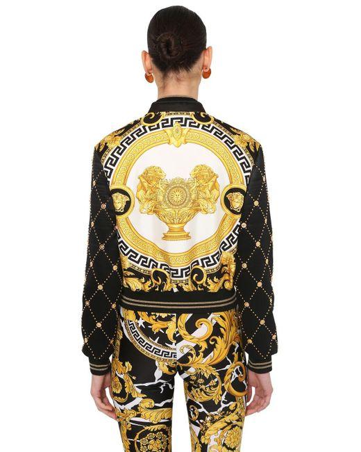 Versace フェイクレザー&サテン ボンバージャケット Black