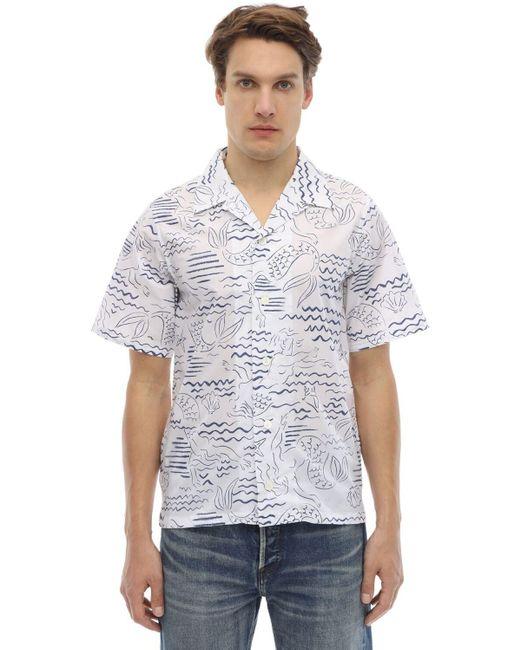メンズ KENZO プリントコットンシャツ White