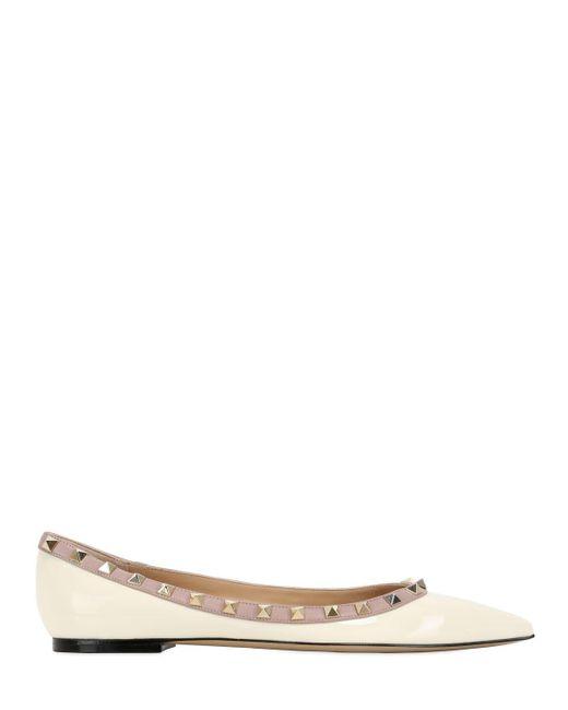 Valentino | White Rockstud Patent Leather Ballerina Flats | Lyst