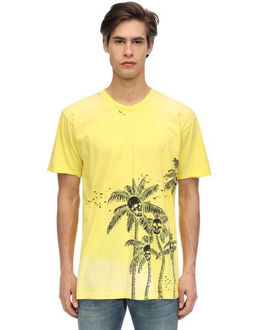 メンズ DOMREBEL Palm Skull コットンジャージーtシャツ Yellow