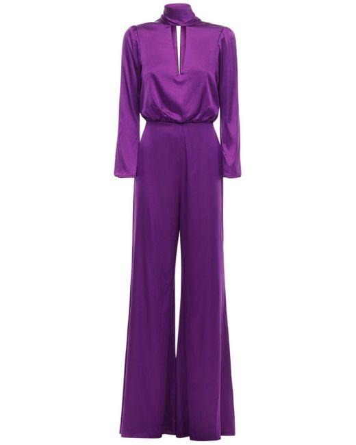 Temperley London シルクブレンドジャンプスーツ Purple