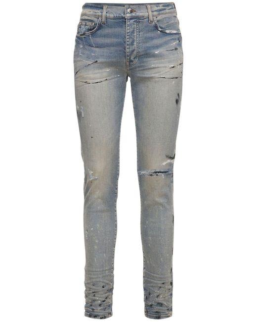 Amiri Blue Hand Painted Slit Knee Denim Jeans for men