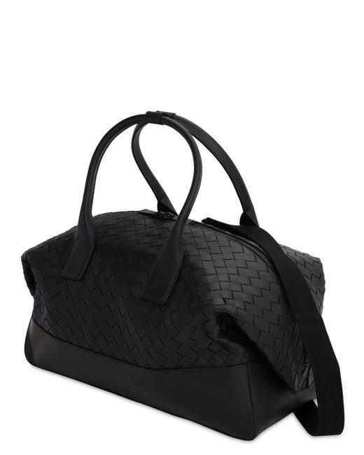 メンズ Bottega Veneta New Intreccio レザーダッフルバッグ Black