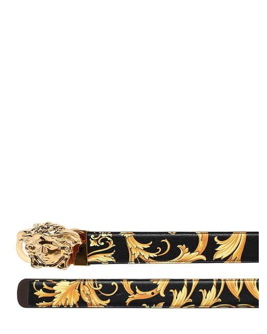 メンズ Versace Baroque リバーシブルレザーベルト 40mm Black