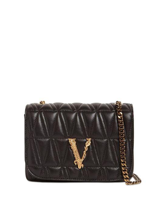 Сумка Из Стёганой Кожи Versace, цвет: Black