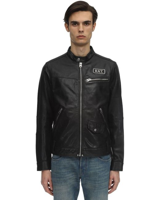 G-Star RAW Black Cny Studded Leather Jacket for men