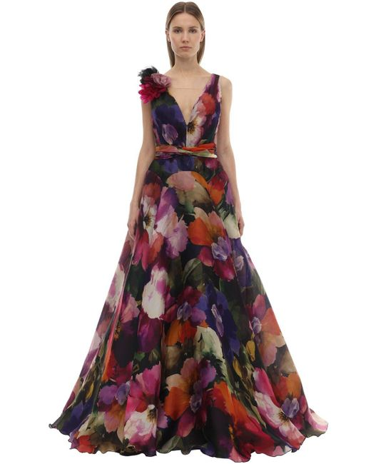 Marchesa シルクオーガンザドレス Multicolor