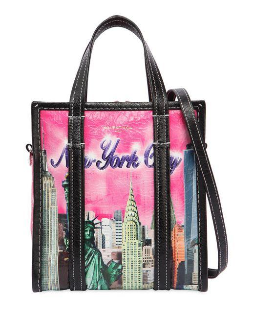 Lyst balenciaga xs bazar new york leather tote bag in pink for Balenciaga new york store