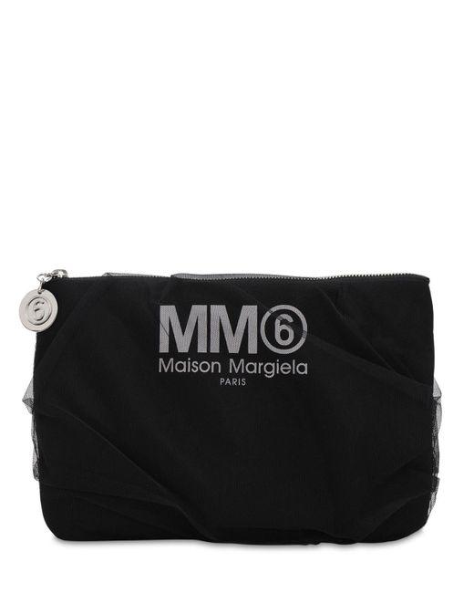 MM6 by Maison Martin Margiela ミディアム テクノ&チュール クラッチバッグ Black