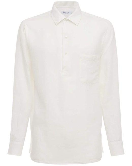 メンズ Loro Piana Andre Arizona リネンポロシャツ White