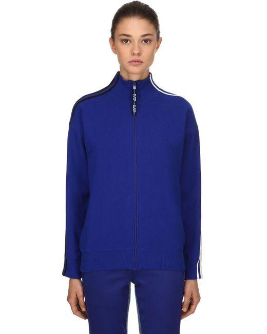 SJYP - Blue Stripes Zip-up Cotton Blend Sweatshirt - Lyst