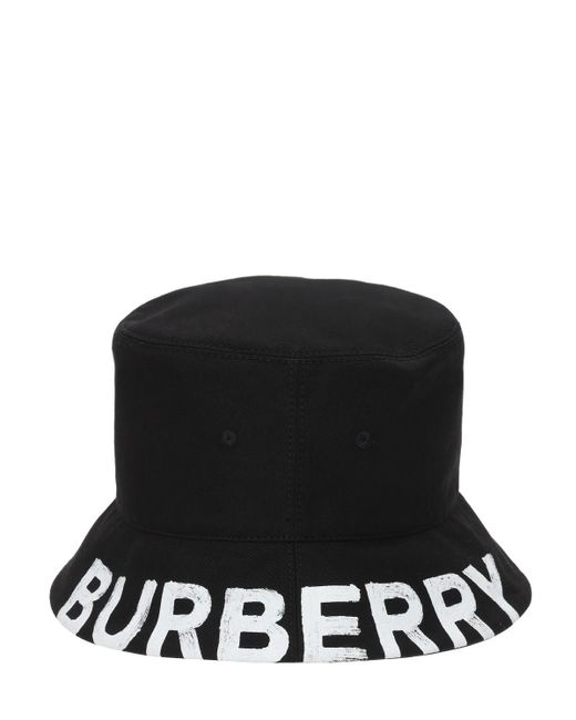 メンズ Burberry リバーシブルバケットハット Black