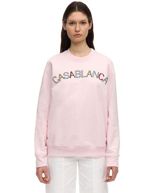 CASABLANCA コットンジャージースウェットシャツ Pink