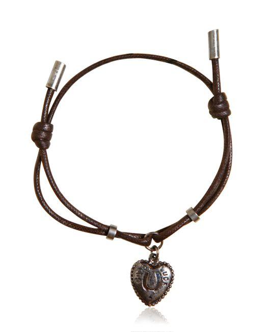 Dolce & Gabbana | Brown Waxed Strap & Metal Chain Bracelet for Men | Lyst