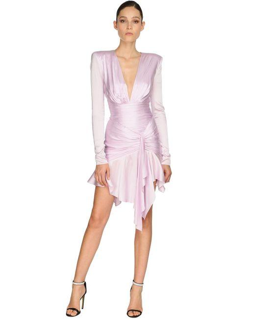 Alexandre Vauthier ストレッチサテンドレス Pink