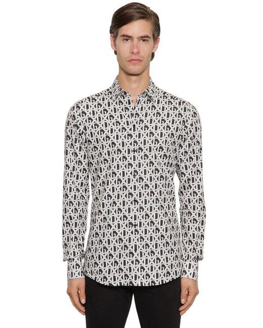 Рубашка Из Хлопкового Поплин С Принтом Логотипа Dolce & Gabbana для него, цвет: White