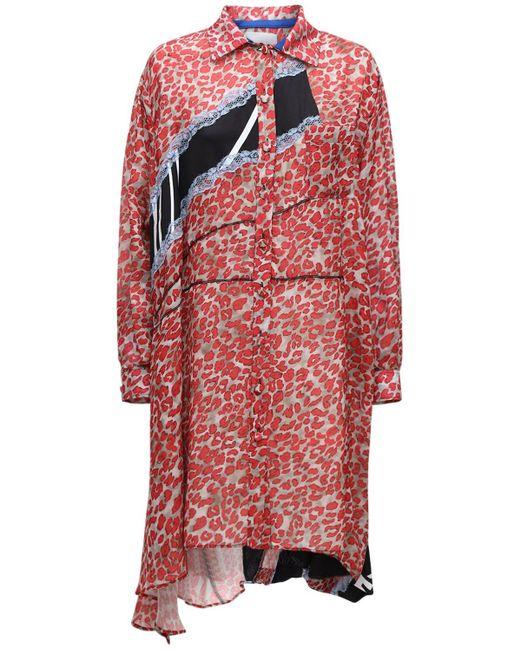 Koche アシンメトリーシャツドレス Red