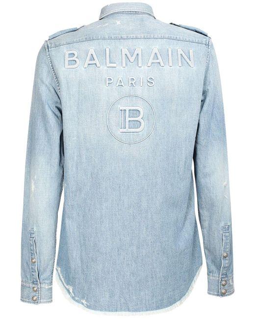 Рубашка Из Денима С Потертостями Balmain для него, цвет: Blue