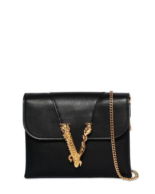 Versace Virtus スムースレザーチェーンバッグ Black