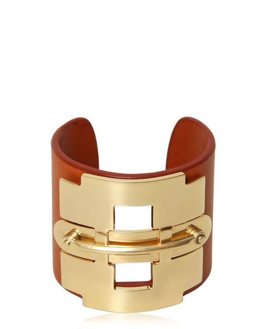 Tod's | Orange Leather And Metal Horse Bit Bracelet | Lyst