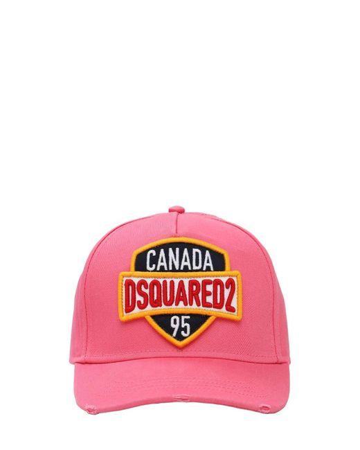 メンズ DSquared² Canada コットンキャンバスキャップ Pink