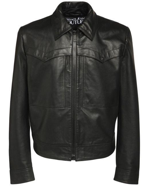 メンズ Versace Jeans レザージャケット Black