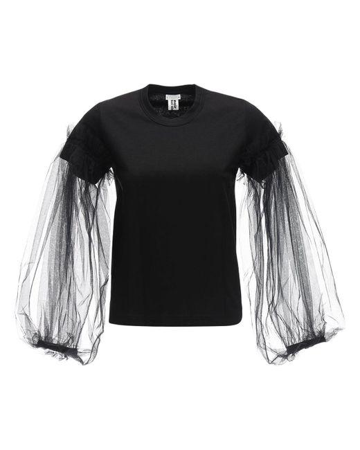 Noir Kei Ninomiya Camisa De De Algodón Con Mangas Largas De Tul de mujer de color negro vloHL