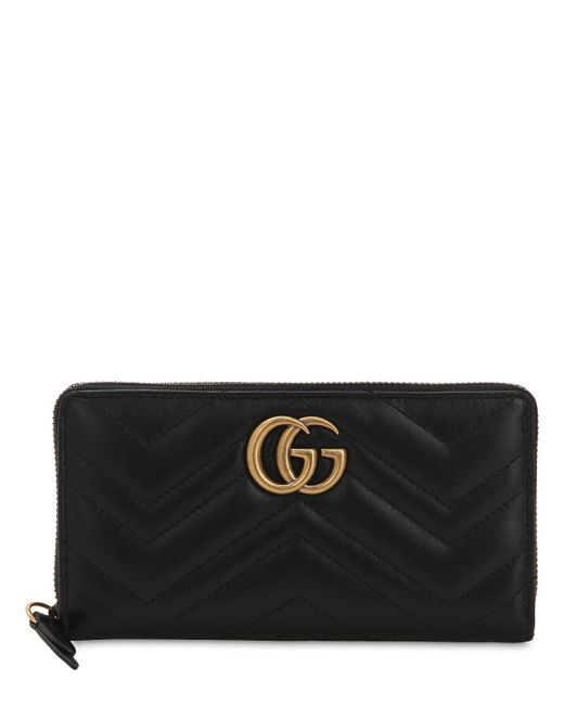 Gucci Black Gg Marmont Quilted Leather Wallet