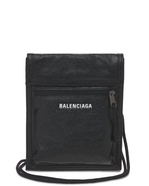 Кожаный Клатч Small Explorer Balenciaga для него, цвет: Black