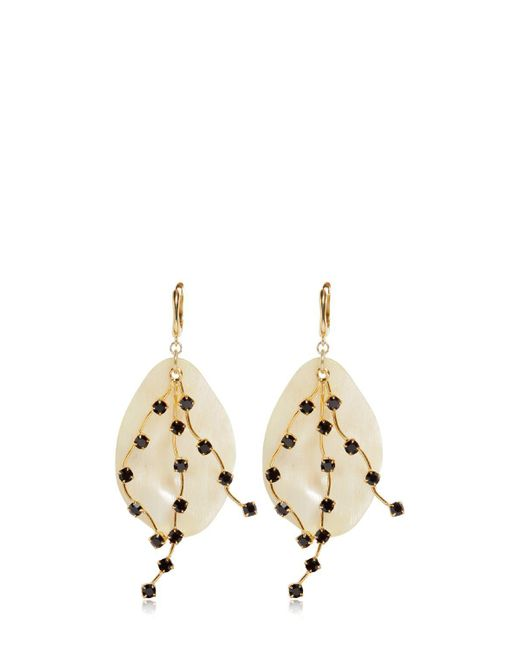Marni | Natural Petals Horn & Crystals Drop Earrings | Lyst