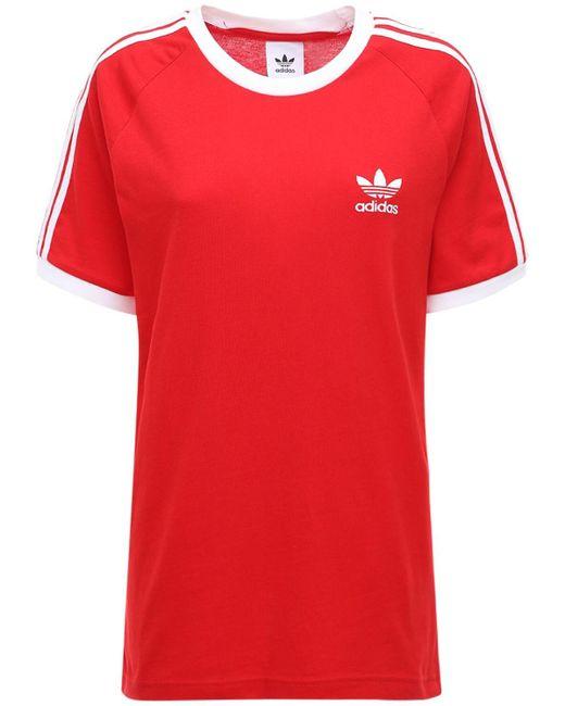 Adidas Originals 3-stripes コットンtシャツ Red