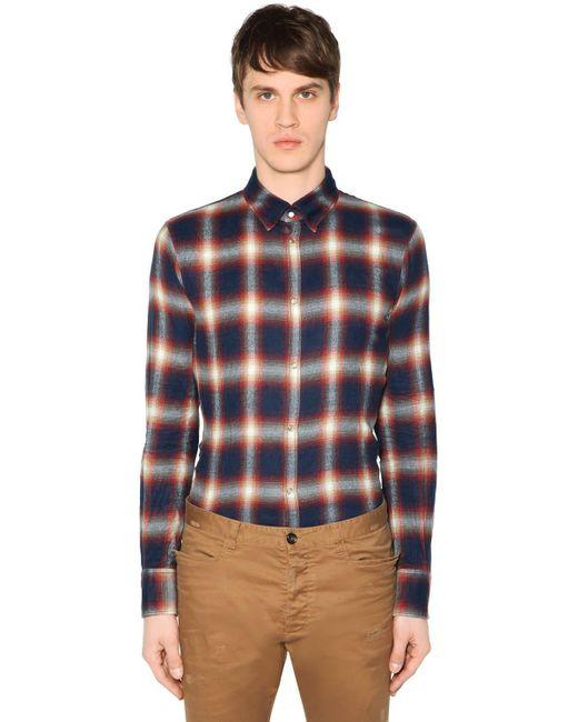 メンズ DSquared² コットンボタンダウンシャツ Blue