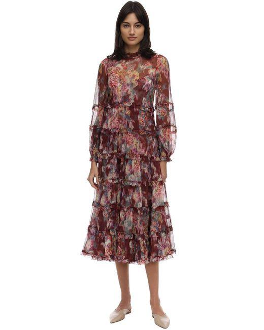 Zimmermann プリントシルクドレス Multicolor