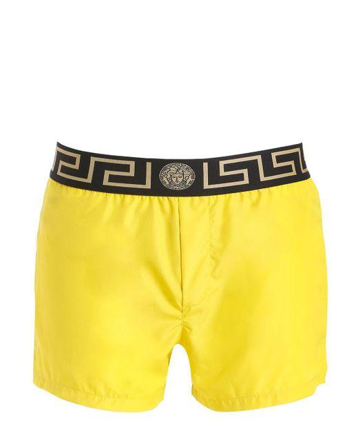 Versace - Yellow Logo Nylon Swim Shorts for Men - Lyst