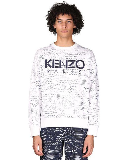 メンズ KENZO プリントコットンスウェットシャツ White